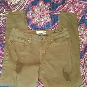 Olive green destroyed skinny jeans g by guess 28